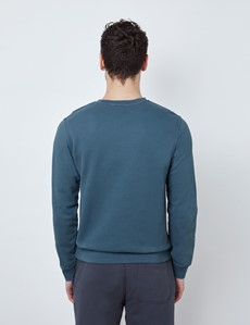 Airforce Blue Garment Dye Organic Cotton Crewneck Sweatshirt