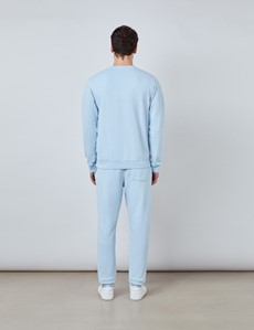 Rundhals Lounge Sweatshirt – Garment Dye – Bio-Baumwolle – hellblau