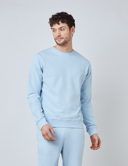 Light Blue Garment Dye Organic Cotton Crewneck Sweatshirt