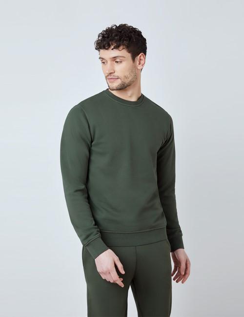 Green Garment Dye Organic Cotton Crewneck Sweatshirt