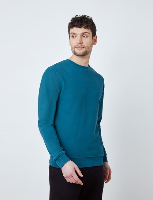 Dark Teal Garment Dye Organic Cotton Crewneck Sweatshirt