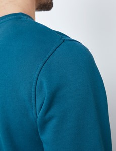 Dark Teal Garment Dye Organic Cotton Crewneck Sweatshirt