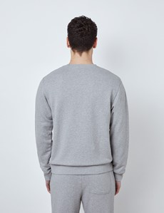 Light Grey Garment Washed Organic Cotton Crewneck Sweatshirt
