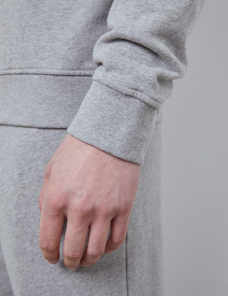 Rundhals Lounge Sweatshirt – Garment Dye – Bio-Baumwolle – Grau