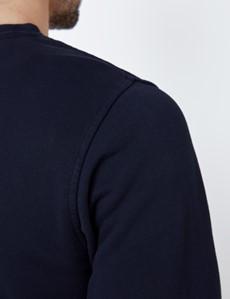 Navy Garment Dye Organic Cotton Crewneck Sweatshirt
