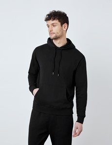 Black Garment Dye Organic Cotton Hooded Sweatshirt