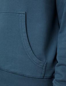 Airforce Blue Garment Dye Organic Cotton Hooded Sweatshirt