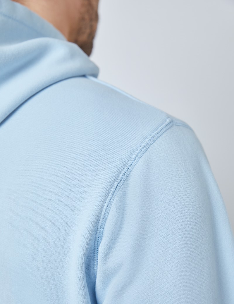 Light Blue Garment Dye Organic Cotton Hooded Sweatshirt