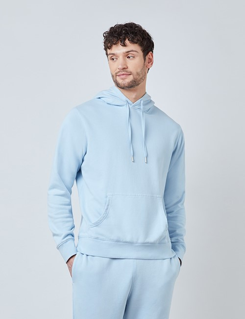 Light Blue Garment Dye Organic Cotton Hooded Sweatshirt