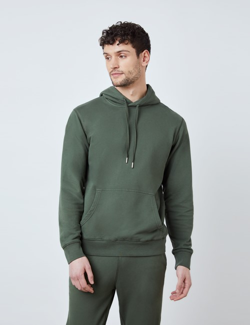 Green Garment Dye Organic Cotton Hooded Sweatshirt