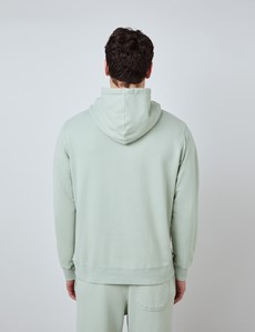 Light Green Garment Dye Organic Cotton Hooded Sweatshirt