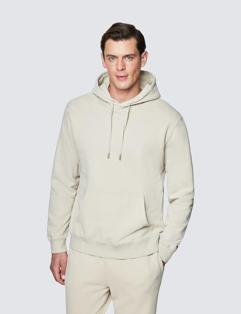 Sage Green Garment Dye Organic Cotton Hooded Sweatshirt