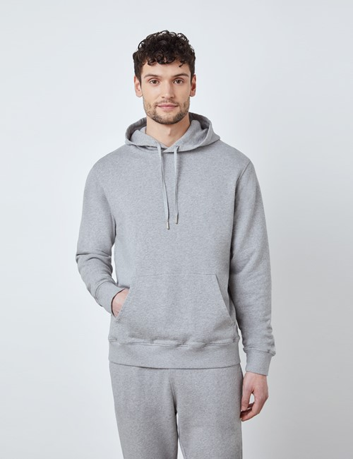 Light Grey Marl Garment Washed Organic Cotton Hooded Sweatshirt