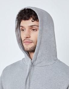 Light Grey Marl Garment Washed Organic Cotton Hooded Sweatshirt