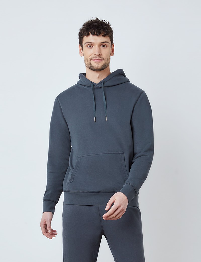 Dark Grey Garment Dye Organic Cotton Hooded Sweatshirt
