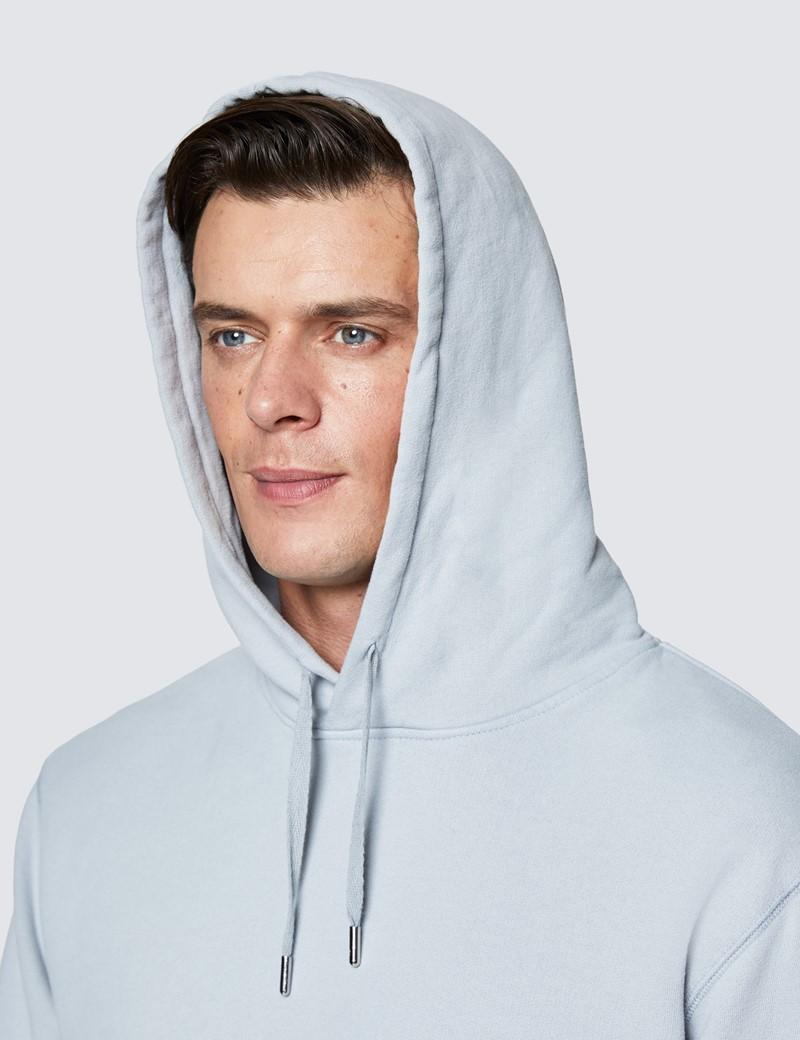 Light Grey Garment Dye Organic Cotton Hooded Sweatshirt