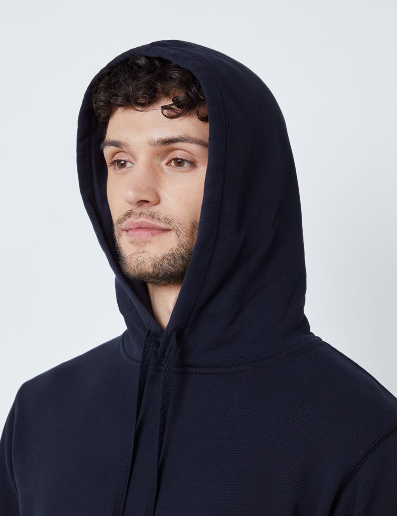 Navy Garment Dye Organic Cotton Hooded Sweatshirt