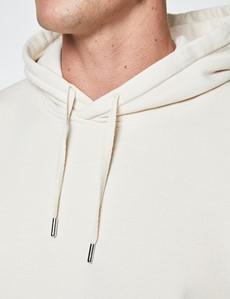 Cream Garment Dye Organic Cotton Hooded Sweatshirt