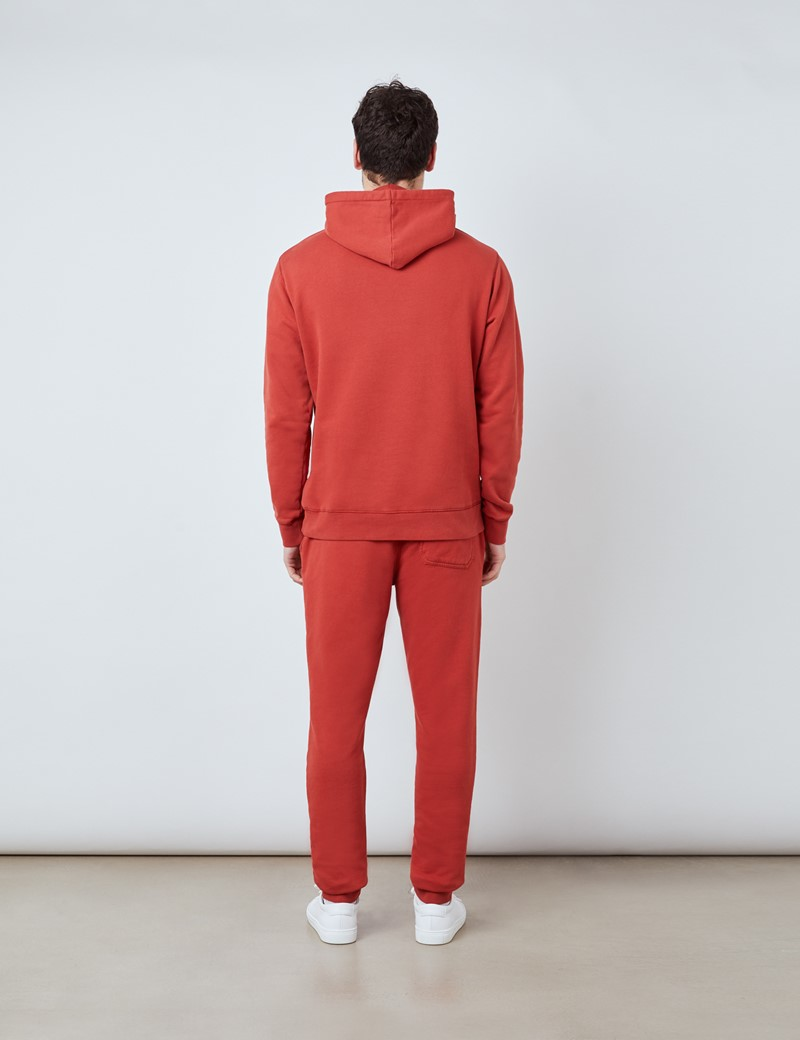 Rust Orange Garment Dye Organic Cotton Hooded Sweatshirt