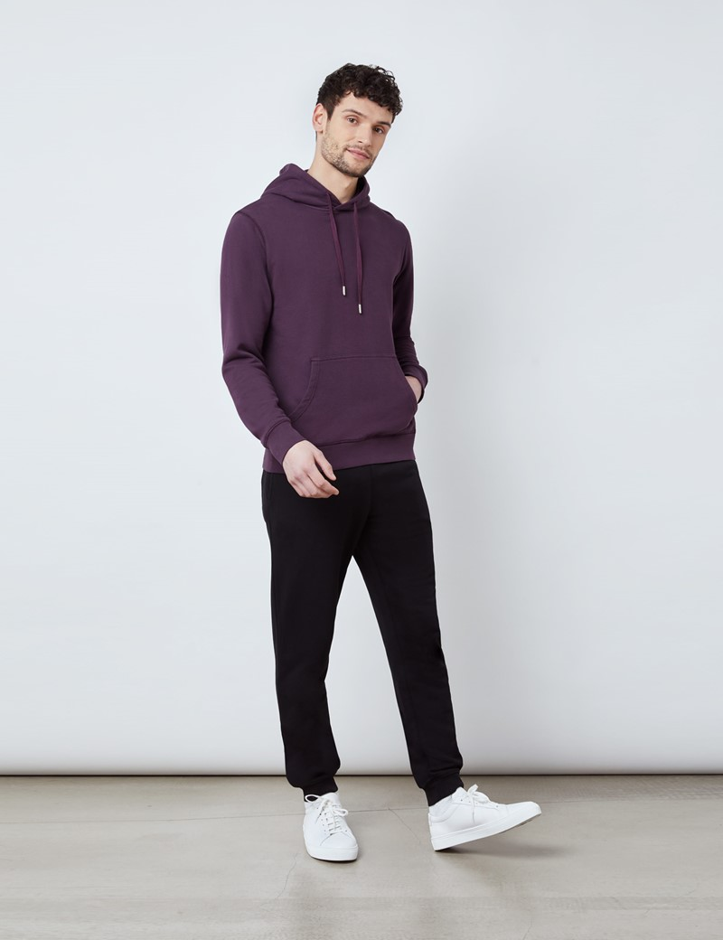 Berry Garment Dye Organic Cotton Hooded Sweatshirt