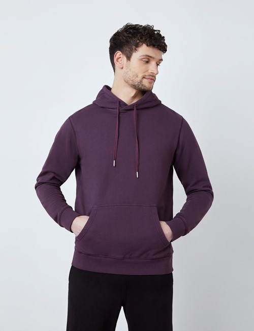 Blackberry Garment Dye Organic Cotton Hooded Sweatshirt