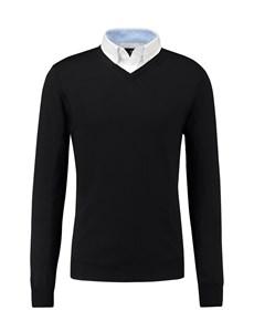 Men's Black Merino Wool Jumper - Slim Fit
