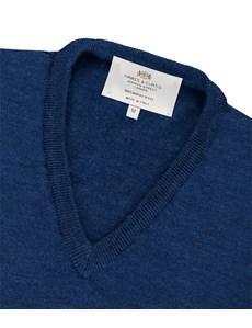 Men's Blue V-Neck Merino Wool Jumper - Slim Fit