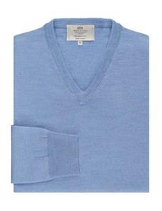 Merino Pullover – Slim Fit – V-Ausschnitt – hellblau