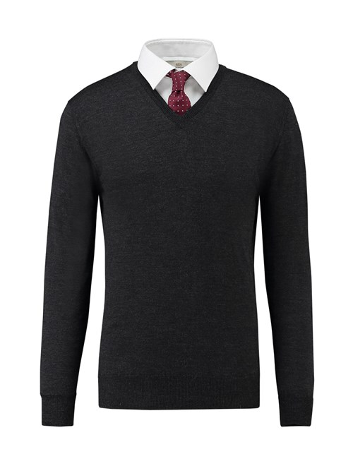 Men's Charcoal V-Neck Slim Fit Jumper - Italian-Made Merino Wool