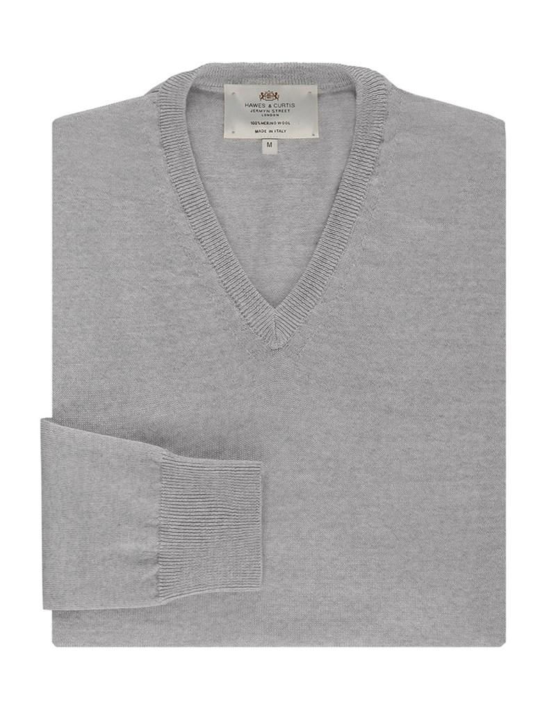 Merino Pullover – Slim Fit – V-Ausschnitt – hellgrau