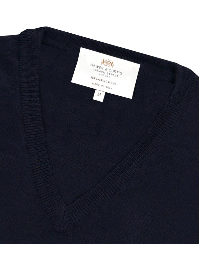 Merino Pullover – Slim Fit – V-Ausschnitt – dunkelblau