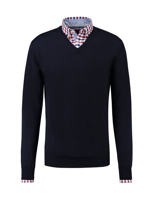 Men's Navy V-Neck Slim Fit Jumper - Italian-Made Merino Wool