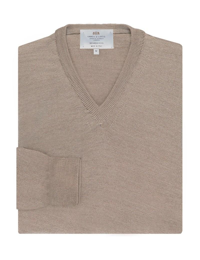 Men's Beige V-Neck Jumper - Italian-Made Merino Wool