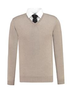 Men's Beige V-Neck Slim Fit Merino Wool Sweater