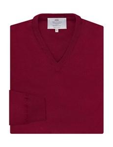 Merino Pullover – Slim Fit – V-Ausschnitt – rot