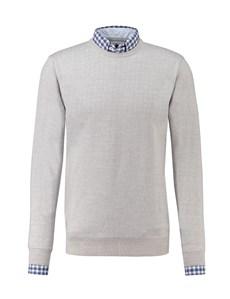 Men's Grey Slim Fit Round Neck Jumper - Italian-Made Merino Wool