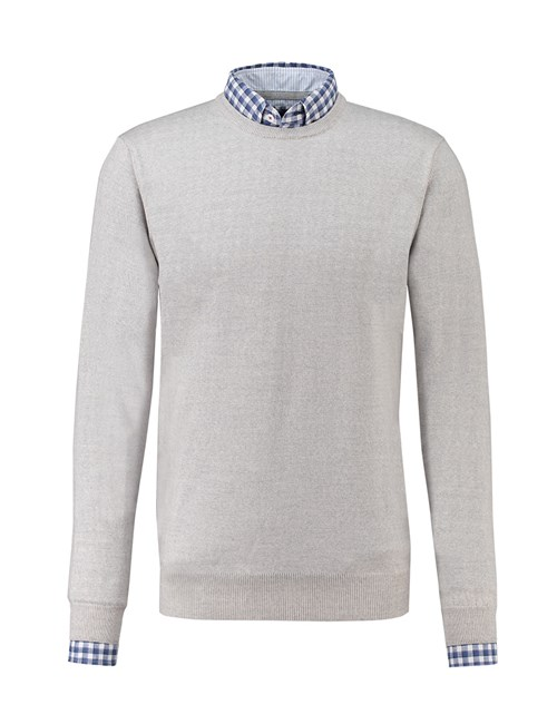 Men's Grey Slim Fit Round Neck Jumper - Italian-Made Merino Wool