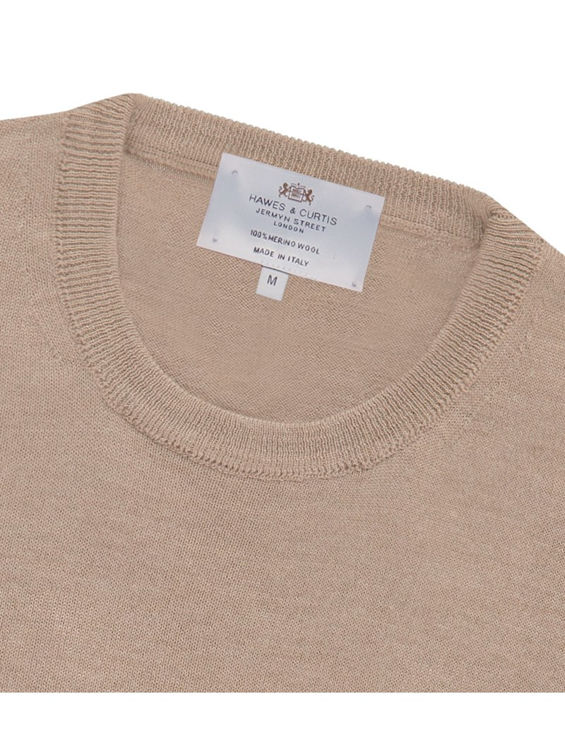 Men's Beige Slim Fit Round Neck Merino Wool Sweater