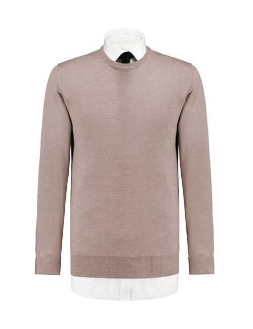 Men's Beige Slim Fit Round Neck Jumper - Italian-Made Merino Wool