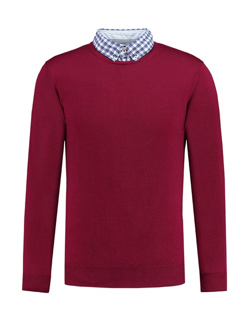 Men's Burgundy Round Neck Slim Fit Jumper - Italian-Made Merino Wool