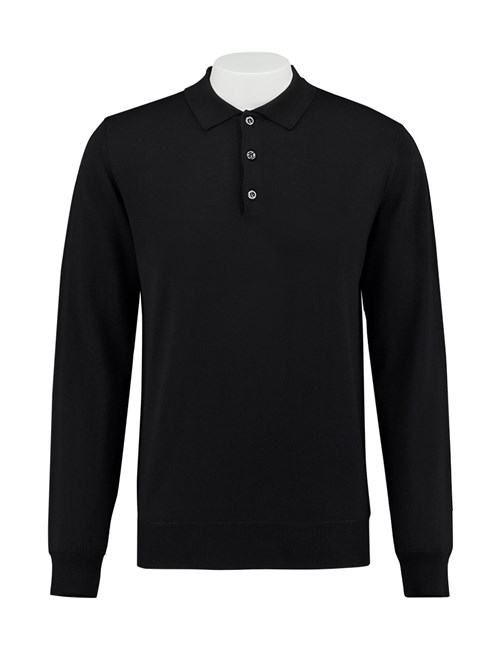 Men's Black Italian-Made Merino Wool Polo Jumper