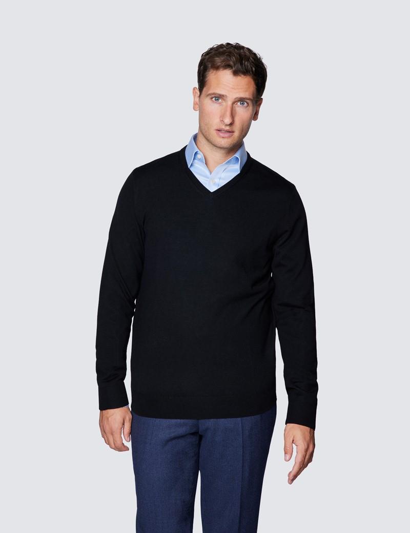 Men's Black V-Neck Merino Wool Jumper - Slim Fit