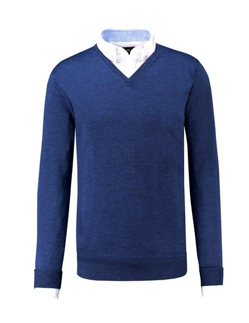 Men's Blue V-Neck Merino Wool Sweater - Slim Fit
