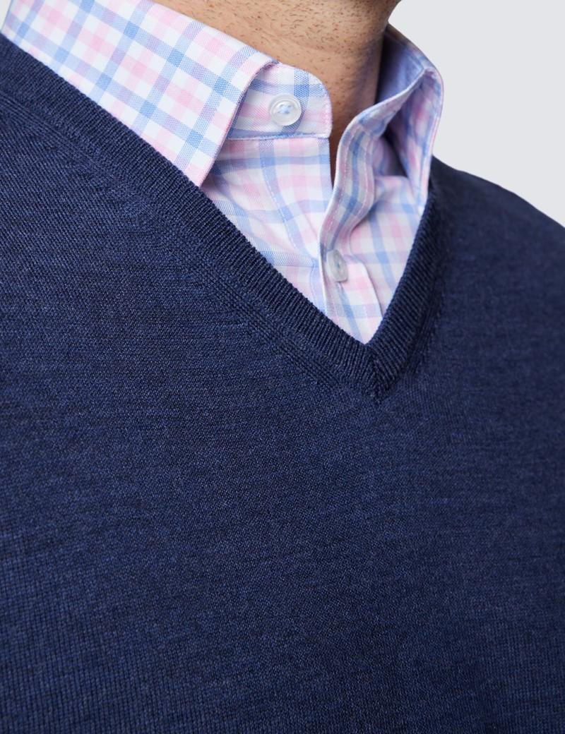 Men's Dark Blue V-Neck Merino Wool Jumper - Slim Fit