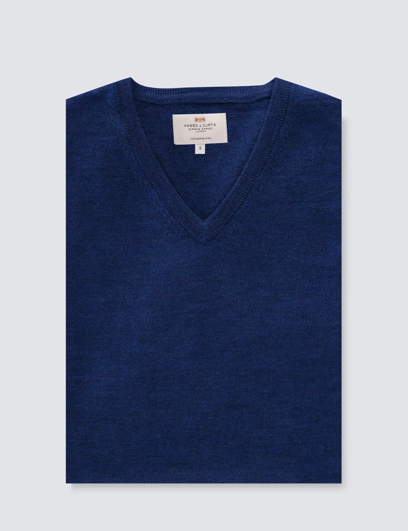 Men's Mid Blue V-Neck Merino Wool Jumper - Slim Fit