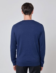 Men's Mid Blue V-Neck Merino Wool Sweater - Slim Fit