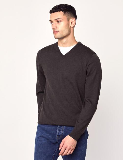Men's Brown V-Neck Merino Wool Sweater - Slim Fit