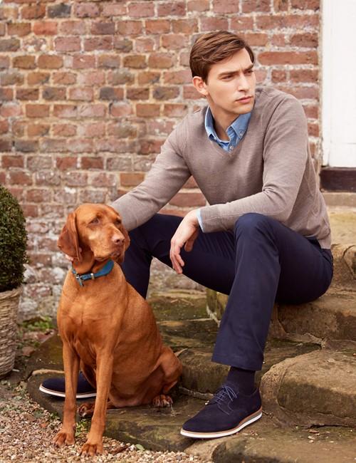 Men's Taupe V-Neck Merino Wool Jumper - Slim Fit