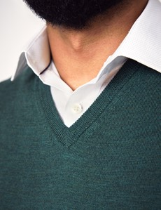 Men's Forest Green V-Neck Merino Wool Sweater - Slim Fit