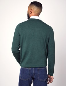 Men's Forest Green V-Neck Merino Wool Jumper - Slim Fit